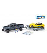 BRUDER Dodge RAM Power Wagon, kilpa-auto ja kuljetustraileri