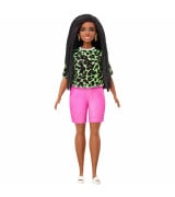 MATTEL BARBIE Fashionistas Doll - nukke jolla leopardipaita / pinkit pyöräilyhousut