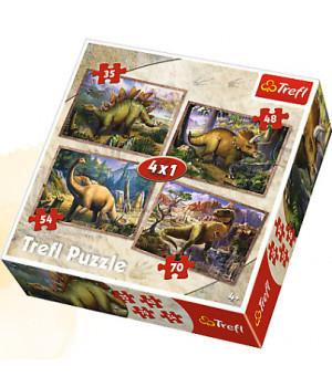 TREFL Palapeli 4 In 1 Dinosaurukset
